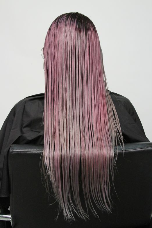 <strong>Step 7:</strong> Process for 20 minutes. After rinsing, apply ColorLush Silver Formula as a toner to the front pieces that had been left out in the beginning. Rinse, shampoo with your choice of PRAVANA Sulfate-FREE and Condition