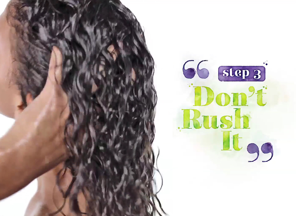 Step 3: Don't rush it. The No-Poo process is a ritual, not a race. Take your time! Thoroughly saturate your client's hair, massage the product in and detangle with a comb.
