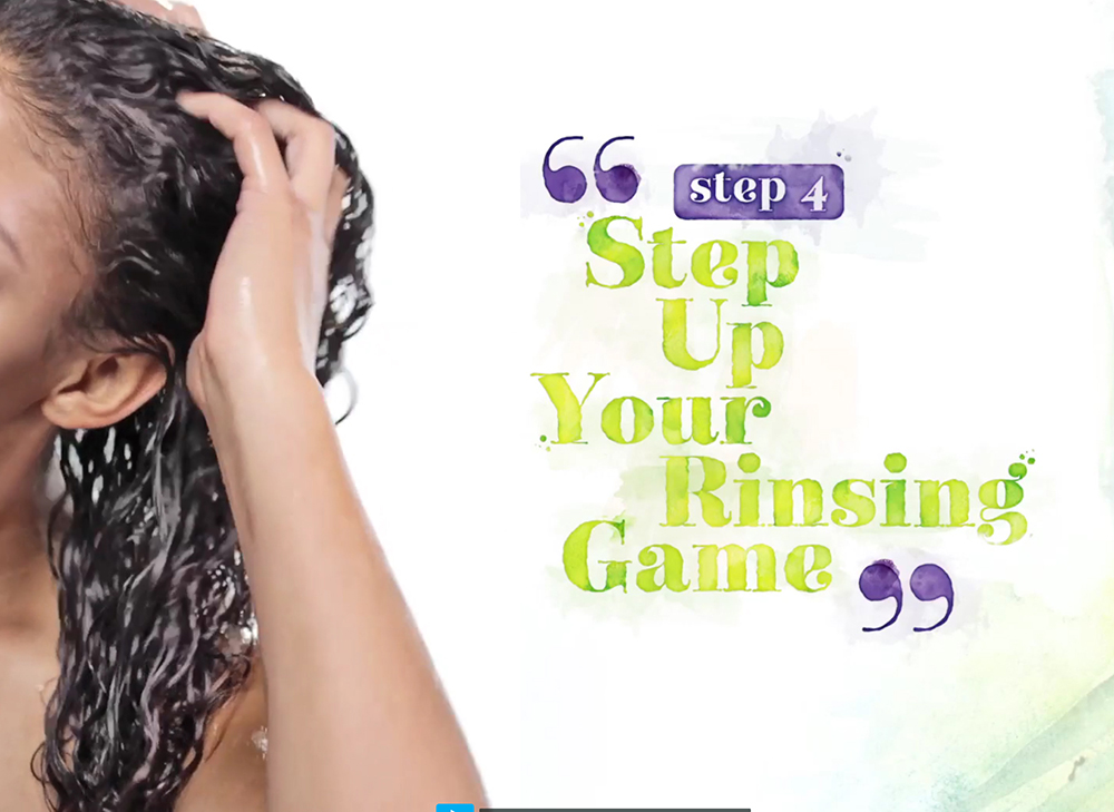 Step 4: Tell your clients to rethink their rinsing game. When you rinse No-Poo the right way, buildup is not an issue. As long as you really get in there with your fingers and scrub all over your scalp, you're good.