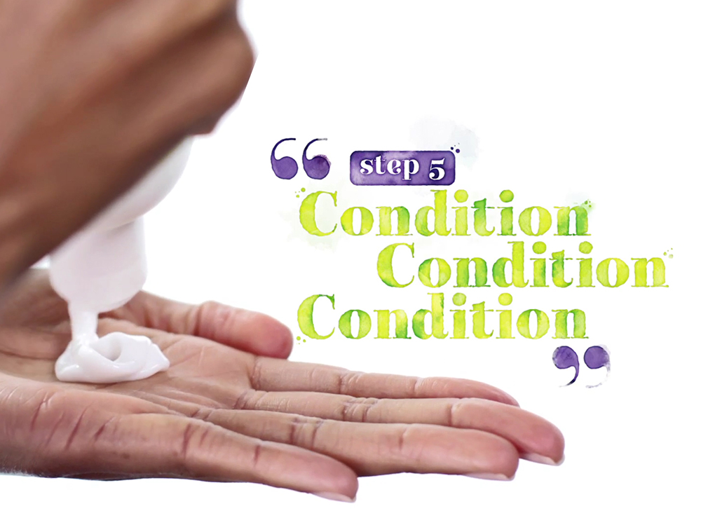 Step 5: Condition, condition, condition. No-Poo's job is to keep your client's scalp clean and healthy, and One Condition is for soft, frizz-free curls. Together, they deliver a blast of moisture that curls love.