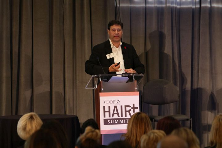 <p>Modern Salon Editor Steve Reiss welcomes attendees to the third annual HAIR+ Summit.</p>