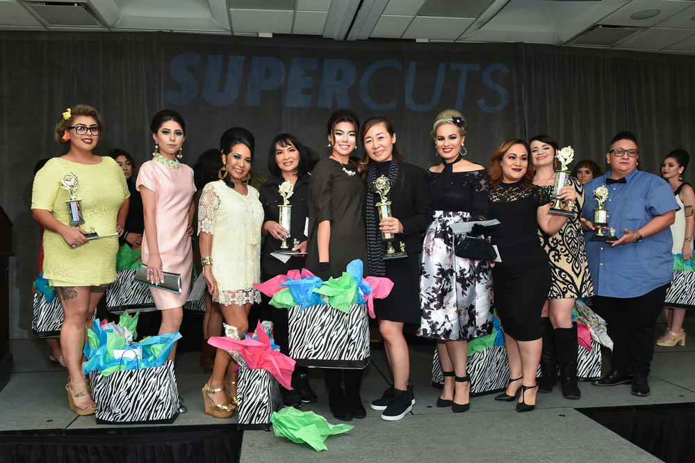"""<p>Hosted by Supercuts of Los Angeles, the five winning student finalists in the 2017 SUPERSTYLE Photo Competition themed """"Super 60's SUPERSUNDAY"""" are, from left to right: 4th Place Winner: Vivana Lopez from Beyond 21st Century and model, Desiree; 2nd Place Winner: Model, Elizabeth and finalist, Paneenart Surasmith from Cerritos Beauty Academy; 1st Place Winner: Model, Mako and finalist, Ella Yi from Fullerton College; 3rd Place Winner: Model, Jennifer and finalist, Adriana Aleman from International School of Beauty; and 5th Place: Model, Mia and finalist, Jeanette Anguiano from Salon Success Academy – Upland – Barber Program.</p>"""