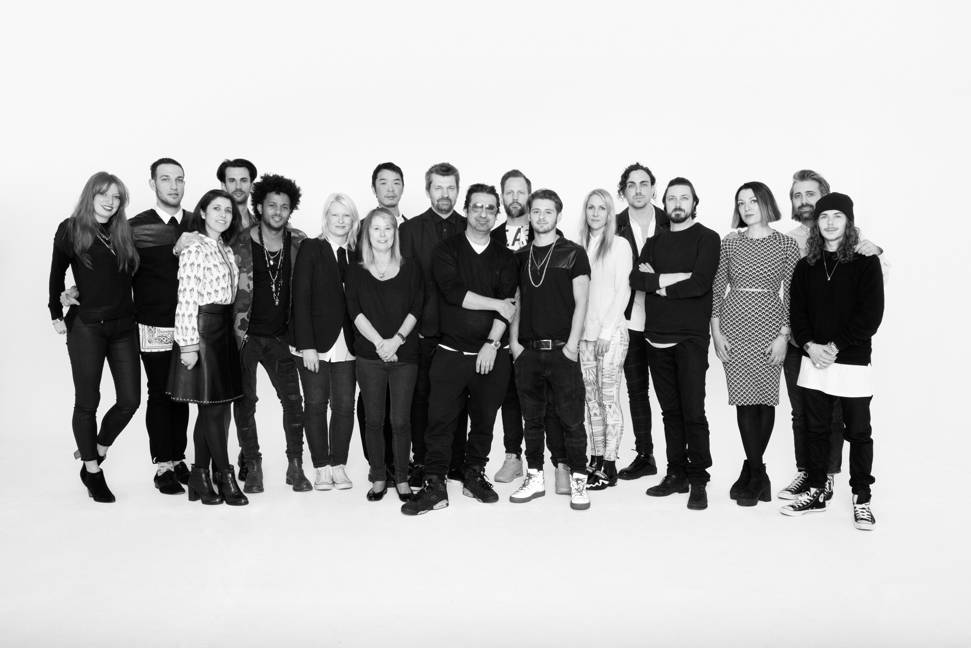 TIGI Artistis from left to right are: Kerrie O'Reilly, Christopher Catanese , Maria Carrubba, Warren Boodaghians (behind),Richy Kandasamy, Maria Kovacs, Gen Itoh (behind), Pat Mascolo, Akos Bodi (behind), Anthony Mascolo, Thomas Osborn, Joshua Mascolo, Christel Lundqvist, Philip downing (behind), Marco Iafrate, Renee Valerie, Piero Gentile (behind), John Harte.