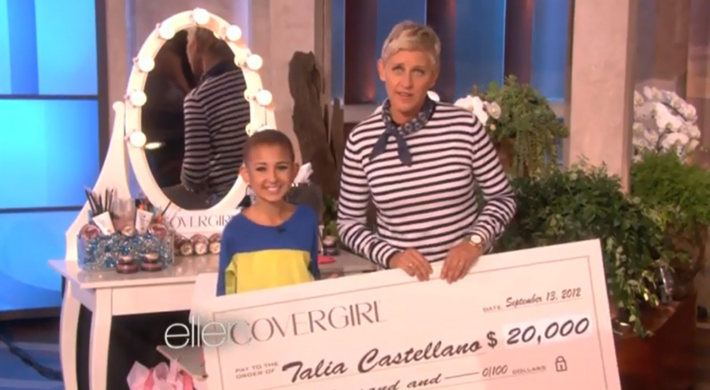 Talia Castellano was given a make-up mirror and a $20,000 check on the Ellen DeGeneres Show.