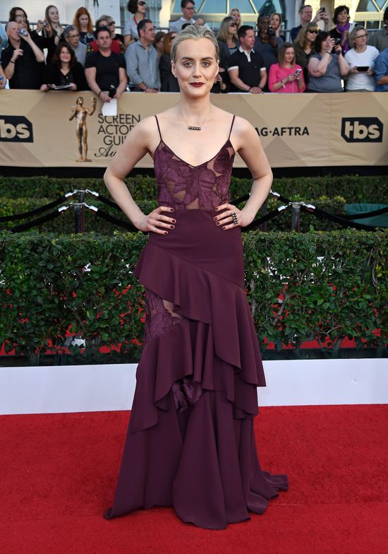 """<strong><strong>TAYLOR SCHILLING,</strong></strong> <p><strong>Inspiration: </strong>""""Essie's <strong>bordeaux</strong> was the perfect polish to complete Taylor's burgundy, monochromatic 90's look. Two coats of this deep red wine shade paired with short nails kept her style cool, young and on-trend,"""" said Celebrity Manicurist, <strong>Christina Aviles</strong>.</p>"""