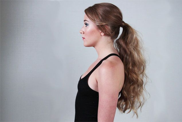 STEP 2: Blow-dry hair section by section from the nape of the neck to the top of the head.