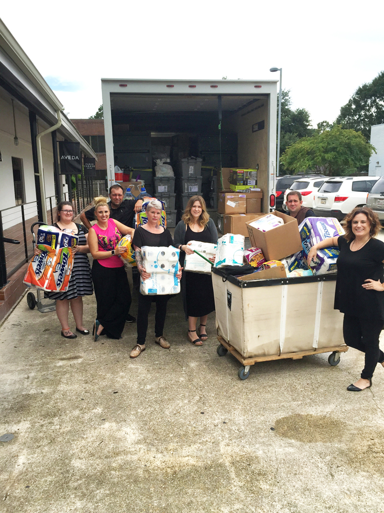 Within 48 hours, donations poured into Paris Parker's Mandeville location. Shown left to right: Amie Crawford, Chrissie Gilberti, Chris Guidry, Raina Twiggs, Lauren Canal, Brandon Stevens and Marie Marshall.