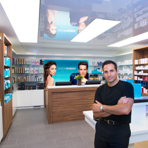 Alan Kossof, co-owner of Teddie Kossof Salon Spa in Northbrook, Illinois, in the salon's newly...