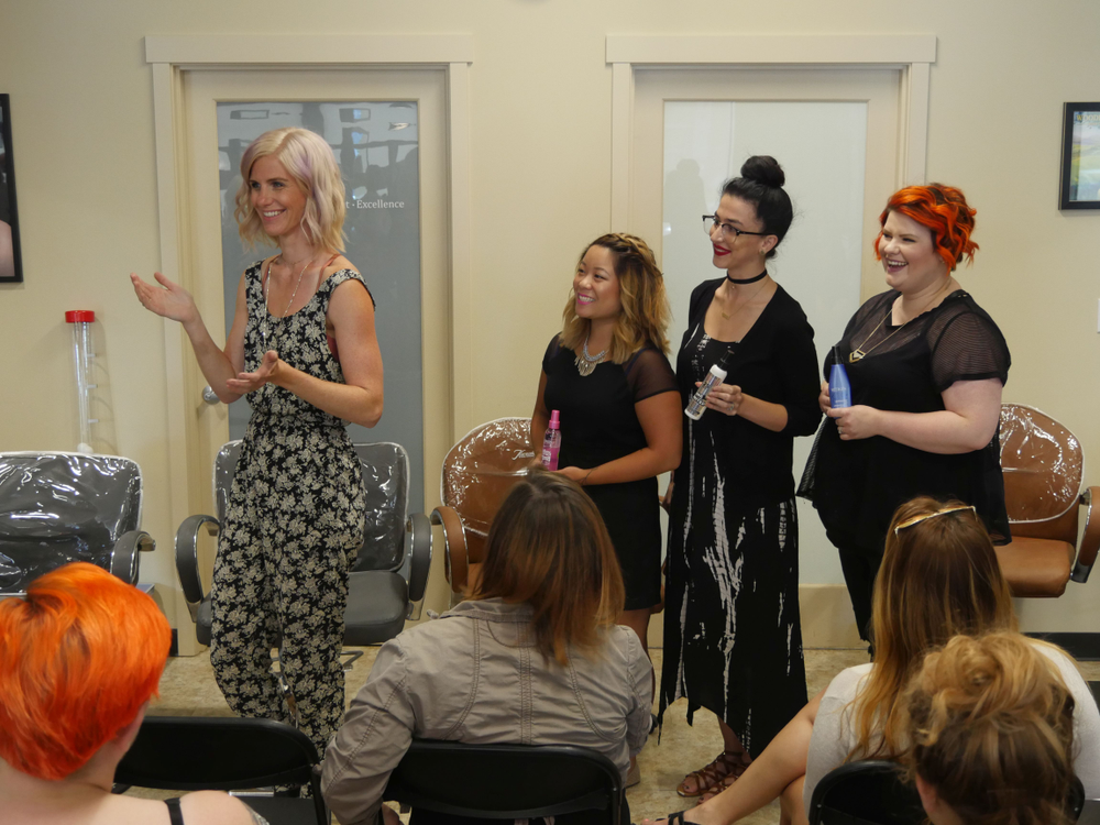 Megan Gepner, Kristine Bushey, Taylor Kelly and Lo Olsen at Elle Marie play a round of The Dating Game where the contestant chooses her 'date' by matching a product name to the descriptions posed by three different team members.