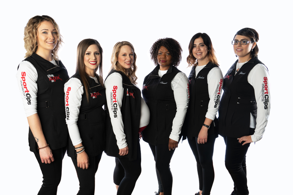 """Sport Clips Haircuts' """"The Look"""" stylist competition finalists (left to right) Erika Remers, Morgan Furgerson, Shay Hodges, Bonnie Holloway, Jerrica Gubler, and Yanet Garcia."""