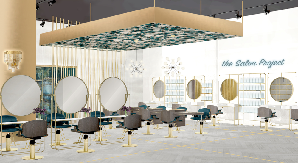 <p>A rendering by the design firm RPG of The Salon Project by Joel Warren within Saks Fifth Avenue shows the interactive makeup stations, the communal services table, and along the back wall, the specializec stations with integrated shampoo bowls and retail shelves.</p>