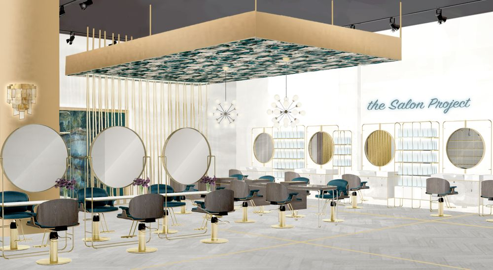 <p>A rendering by the design firm RPG of The Salon Project by Joel Warren within Saks Fifth Avenue shows the interactive makeup stations, the communal services table, and along the back wall, the specializec stations with integrated shampoo bowls and retail shelves. </p>