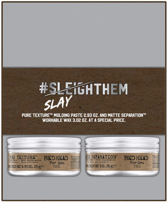 <strong>TIGI's Bed Head Men Duo</strong> features <strong>Matte Separation Wax</strong>, for hold, definition and a natural finish; and Texture Molding Paste to create texture without flaking.