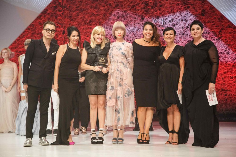 2017 Color Vision Gold Medal Winner Katie Manselle onstage at Wella Professionals North American Trend Vision Awards in Los Angeles.