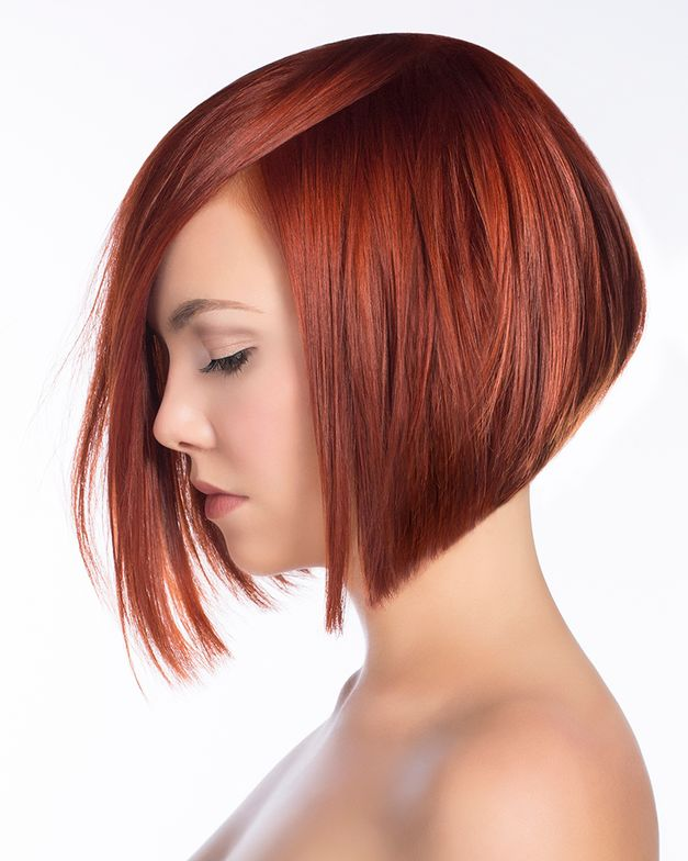 Model: Katie Session Styling: Charlie Price, Scruples Independent Creative Consultant Haircut: April Godwin, Scruples Artist Cutting By Design Shape: Elevated Bob Haircolor: Chris Venesky, Scruples Design Team Member + Donna Campbell, Scruples Artist Natural Level 6 Base Color: True Integrity Opalescent Creme Colour Level 7 Brilliant Copper