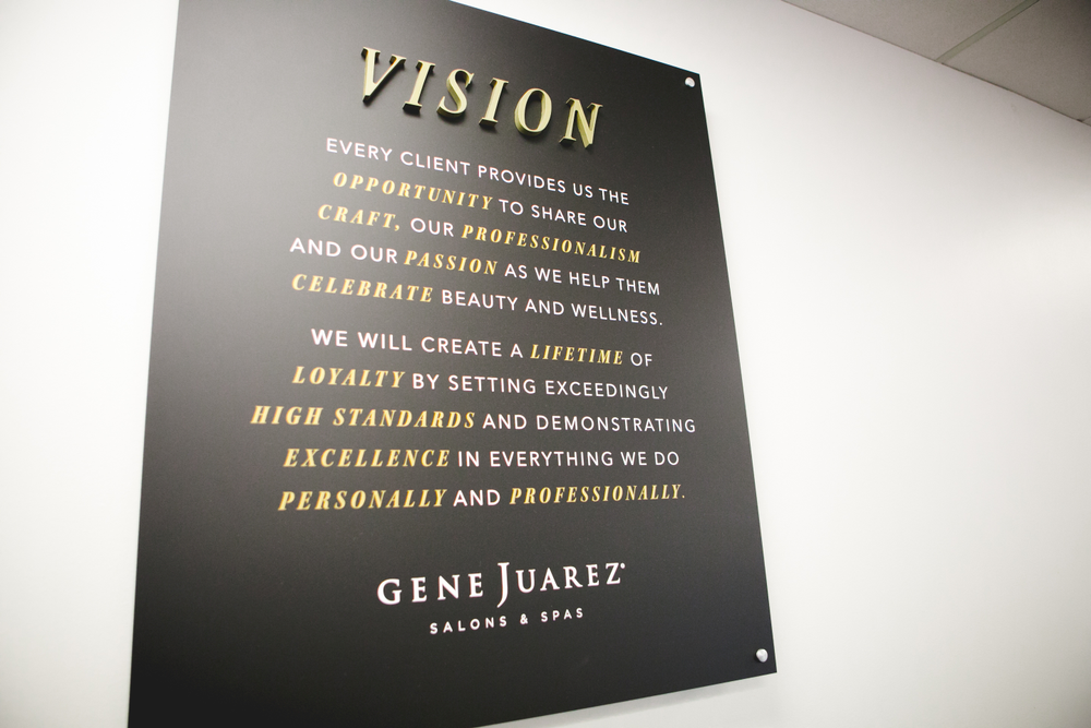<p>Plaques of the company's Vision and Promise, which were created by Gene Juarez employees, proudly hang in each location.</p>