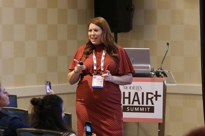 <p>ViviscalPRO&#39;s Lauren Dudak takes attendees through some hair loss statistics.</p>