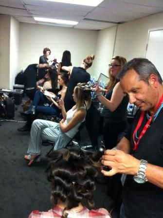 The Wella Team backstage at LAFW