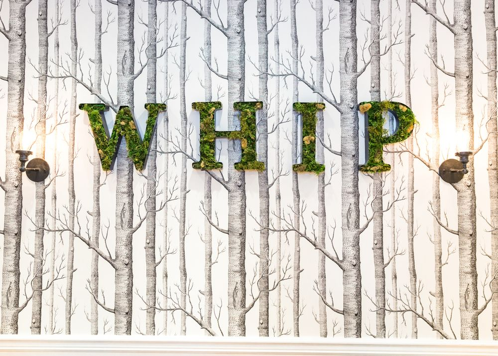 How does your garden grow? At Whip Salon Ridgefield in Ridgefield, Connecticut, the salon logo grows on this wall that stands out from the crowds.
