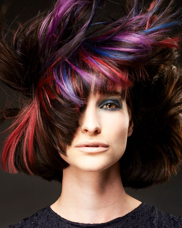 Pre-lighten slice with Light Master +6%. Apply Matrix Color Sync in-between packets 4N then tone lighter pieces: Red 7RR+ HD-RR, Lilac Prism and Blue 10 part 11AA 3 part 5AV.