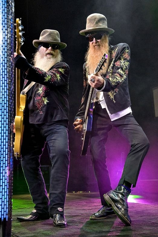 Dusty Hill and Billy Gibbons of ZZ Top perform at the Horseshoe Casino on August 7, 2011 in Hammond, Indiana. (Photo by Lyle A. Waisman/Getty Images)