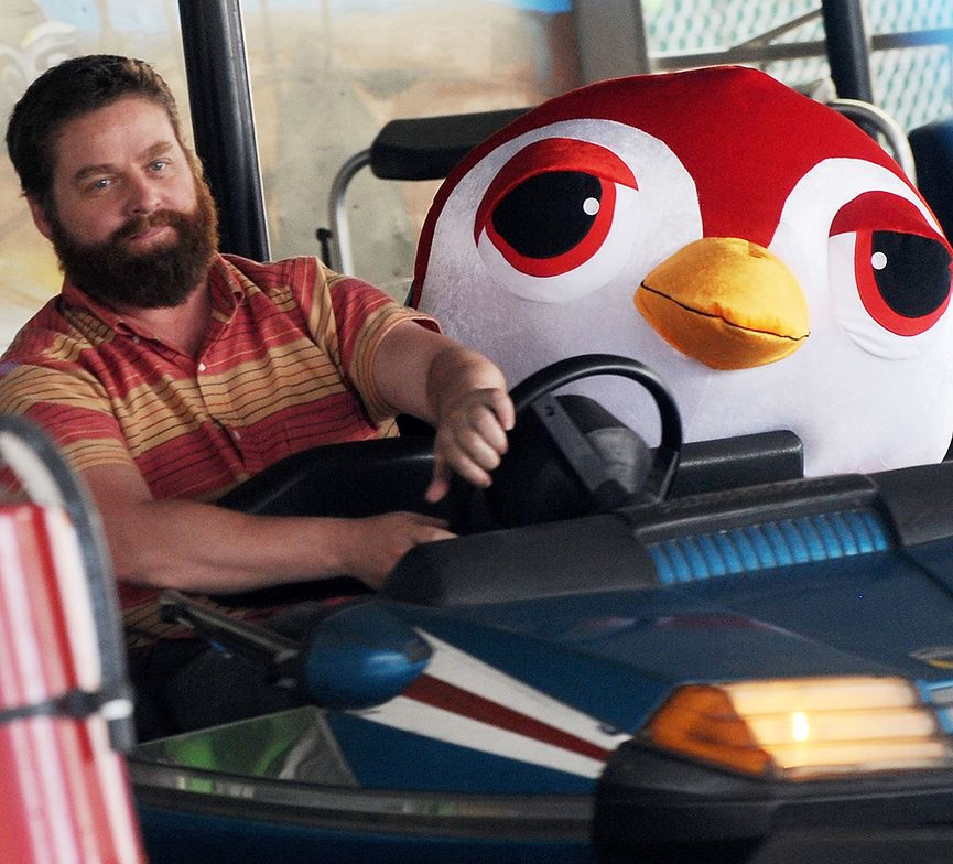 "Actor Zach Galifianakis at the bumper cars filming a promo on location for ""Bored To Death"" on June 7, 2011 in the Brooklyn borough of New York City."