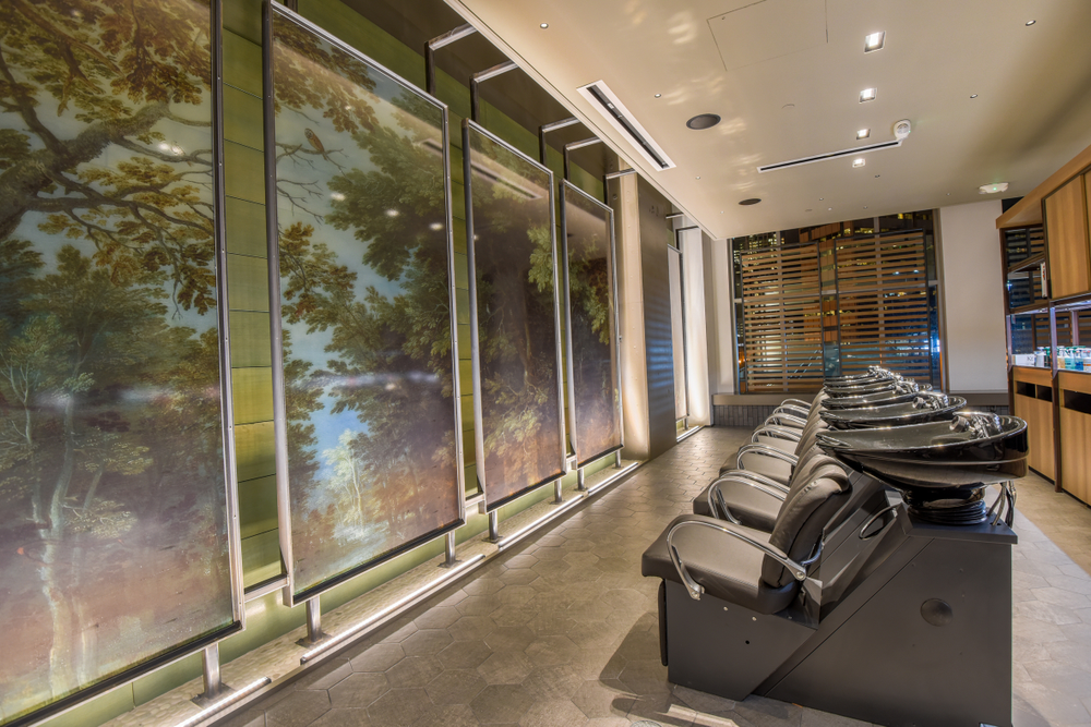 Comfort is key in the shampoo zone, which represents the favorite part of the service for many clients. (The shampoo oasis at Gene Juarez Salon and Spa.)