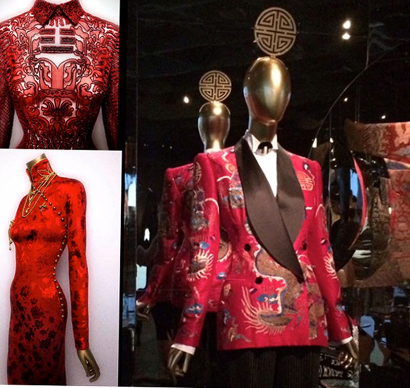 a.  Chinese fashion inspirations.  Top left, evening dress by Valentino SpA, from the 2013 Shanghai Collection.  Bottom Left: John Galliano Couture, House of Dior, 1997/98.  Photos Courtesy The Metropolitan Museum of Art, Photography: © Platon.  Right: Ralph Lauren jacket, 2011/12.  Headdress: Stephen Jones.  Photo © Helen Oppenheim. Collage by helenoppenheim.com