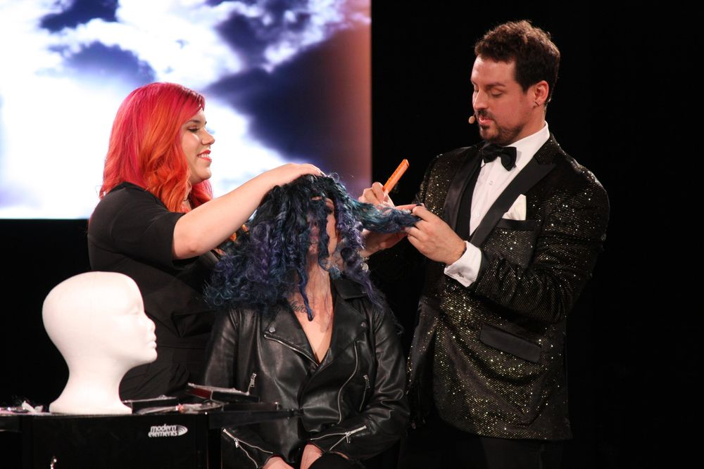 Philip Ring, @phildoeshair presented a number of wigs that were all inspired by the elements.