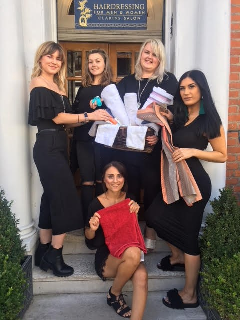 Chloe Rafferty, Lucy Kerens, Laura Williams, Kellie Middleton, with Nat Baker (seated) of Q Salon