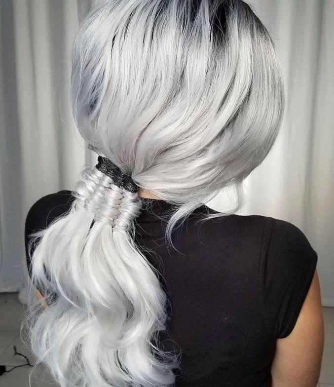 """Off The Chain Pony """"This cute infinity ponytail has black chain detail on the top finished with a pulled out infinity on the bottom for texture. I used my favorite product <a class=""""notranslate"""" href=""""https://www.instagram.com/sexyhair/"""">@sexyhair</a> <a href=""""https://www.instagram.com/explore/tags/bigsexyhair/"""">#bigsexyhair</a> <a href=""""https://www.instagram.com/explore/tags/powderplaylite/"""">#powderplaylite</a>."""""""