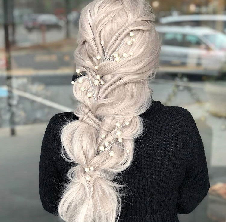 "<span title=""Edited"">Pearly Ice Queen ""This beautiful upstyle was created using infinity braids and a faux-braid technique. I used <a class=""notranslate"" href=""https://www.instagram.com/sexyhair/"">@sexyhair</a> <a href=""https://www.instagram.com/explore/tags/bigsexyhair/"">#bigsexyhair</a> <a href=""https://www.instagram.com/explore/tags/powderplaylite/"">#powderplaylite</a> to puff out the braid and <a href=""https://www.instagram.com/explore/tags/healthysexyhair/"">#healthysexyhair</a> <a href=""https://www.instagram.com/explore/tags/sotouchable/"">#sotouchable</a> to keep the fly aways away!. I used Pearl accents to bring it all together.""</span>"