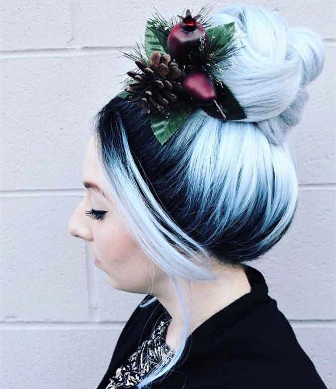 """Holiday Fun Bun """"This awesome high braided bun was put together with the help from <a class=""""notranslate"""" href=""""https://www.instagram.com/sexyhair/"""">@sexyhair</a><br /><a href=""""https://www.instagram.com/explore/tags/healthysexyhair/"""">#healthysexyhair</a> <a href=""""https://www.instagram.com/explore/tags/stylingpaste/"""">#stylingpaste</a> and <a href=""""https://www.instagram.com/explore/tags/bigsexyhair/"""">#bigsexyhair</a> <a href=""""https://www.instagram.com/explore/tags/powderplaylite/"""">#powderplaylite</a> for that super expanded braid on the top and holding it all in place I used <a href=""""https://www.instagram.com/explore/tags/bigsexyhair/"""">#bigsexyhair</a> <a href=""""https://www.instagram.com/explore/tags/getlayered/"""">#getlayered</a>."""""""