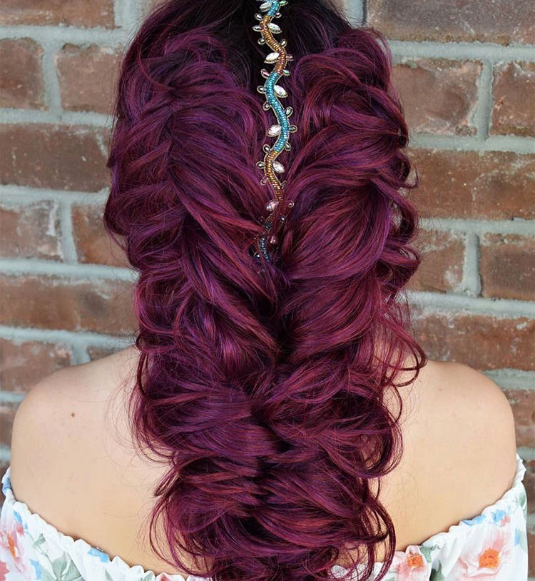 "Berry-licious ""Double Reverse French Fishtail Braids accented with <a class=""notranslate"" href=""https://www.instagram.com/pinkpewter/"">@pinkpewter</a> styled with <a class=""notranslate"" href=""https://www.instagram.com/sexyhair/"">@sexyhair</a> <a href=""https://www.instagram.com/explore/tags/bigsexyhair/"">#bigsexyhair</a> <a href=""https://www.instagram.com/explore/tags/powderplaylite/"">#powderplaylite.""</a>"