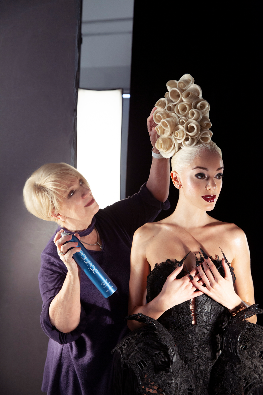 Ann Bray perfecting an updo.<br />Photography: @luis_alvarez_babylisspro