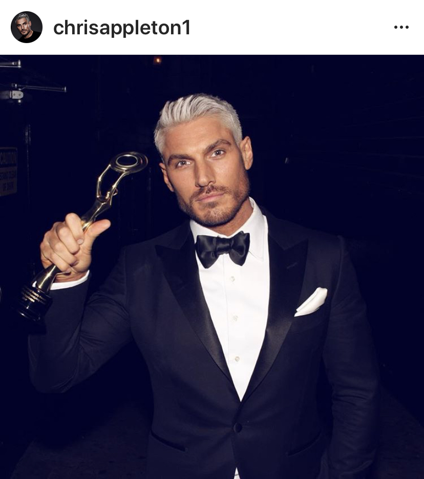 Chris Appleton after winning the Hollywood Beauty Awards, February 2019.