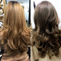 Hair color makeover by Areeba Farooq (@areebachops)