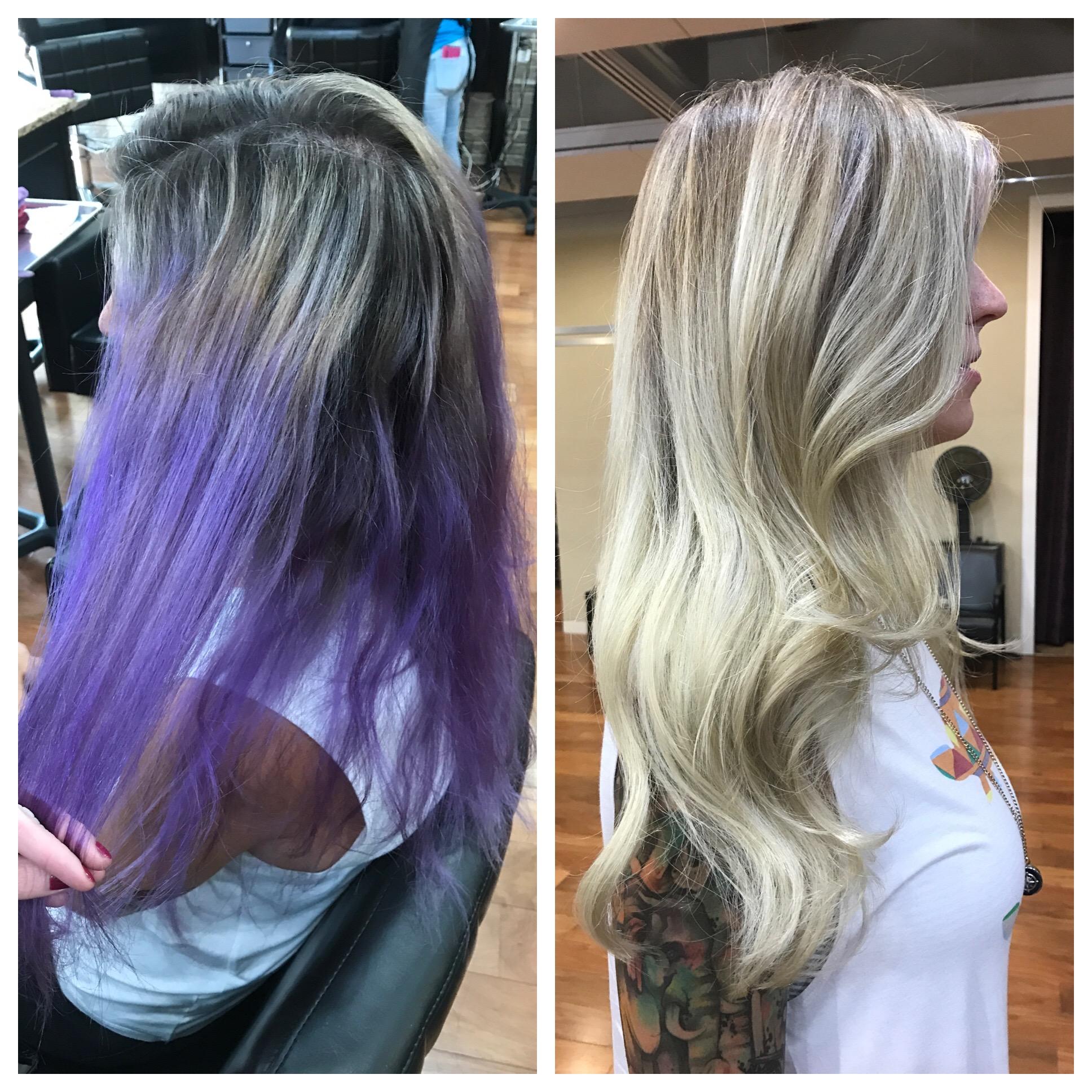 Transformation: DIY Purple to Blonde Color Correction