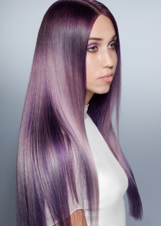 """<span style=""""font-size: 10.000000pt; font-family: 'Calibri';"""">""""For clients wanting to take the plunge into something brighter and more fun for the summer, this year's must-have color is a vibrant violet,"""" says Ian Michael Black, Aveda Global Artistic Director, Hair Color. </span>"""