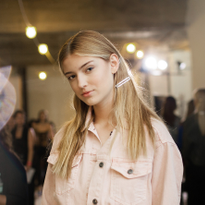 NYFW: Loose, Pulled-Back Look Using Barettes by Aveda's Frank Rizzieri for Tibi SS '19