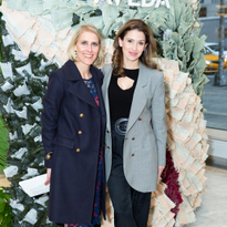 l-to-r: Aveda Global General Manager Barbara De Laere with Hilaria Baldwin, unveiling Aveda...