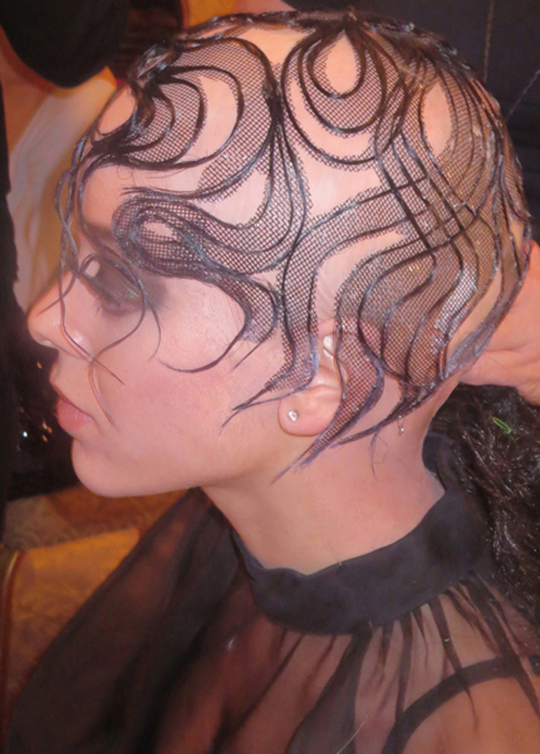 <p>A lace cap on the head. Lace is very big now and Sharon Blain showed lace on the head as never before! Hair: Sharon Blain – ICA/Goldwell … Makeup: Cheryl Eposito/Becca … Fashion Stylist: Rod Novoa.  </p>
