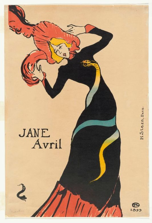 Jane Avril, 1899 by Toulouse-Lautrec at MoMA Museum. Note yellow hair.