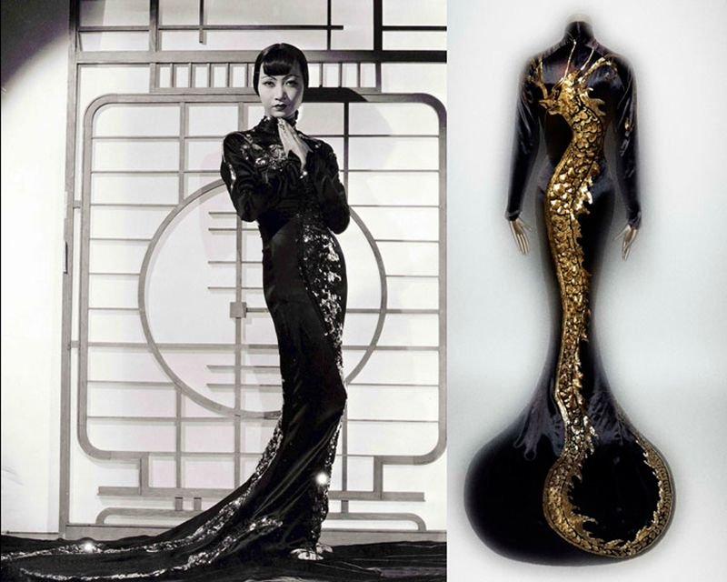 "b. Left: Film still  of Anna May Wong from ""Limehouse Blues,"" 1934.   Right: Anna May Wong's black evening dress with a gold dragon, by Travis Banton, 1934.  Photo Left: The Kobal Collection/Jones. Ray.  Right: Photography © Platon. Both photos courtesy The Metropolitan Museum of Art."