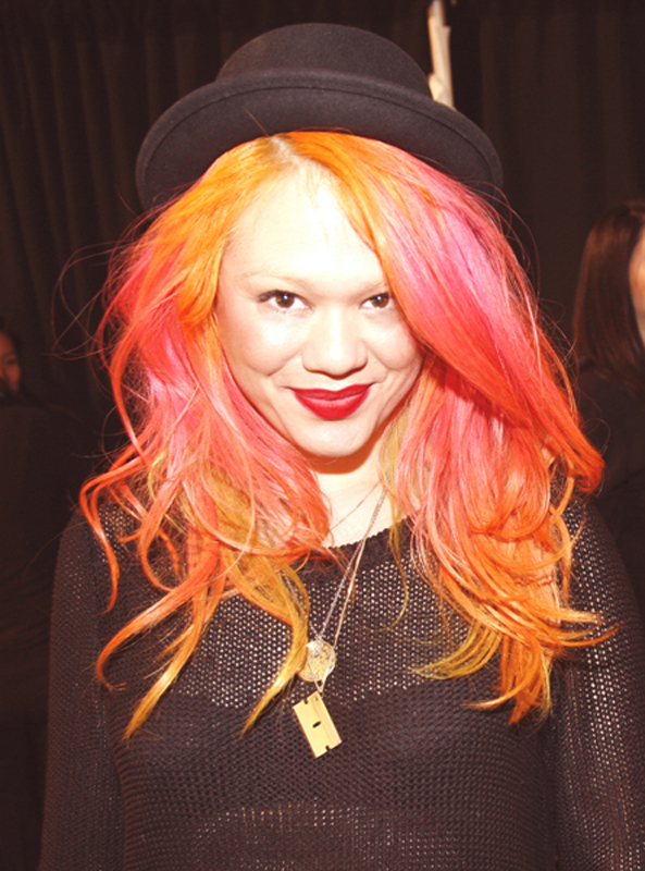 Stand-out 3-tone hair on Mac Makeup Artist, Marissa Jade Willinsky in action at the Adina Cohen #NYFW for Fall 2015.     The makeup artist did her own hair color using Special Effects for the red, Adore for the yellow, Pravana for the orange.