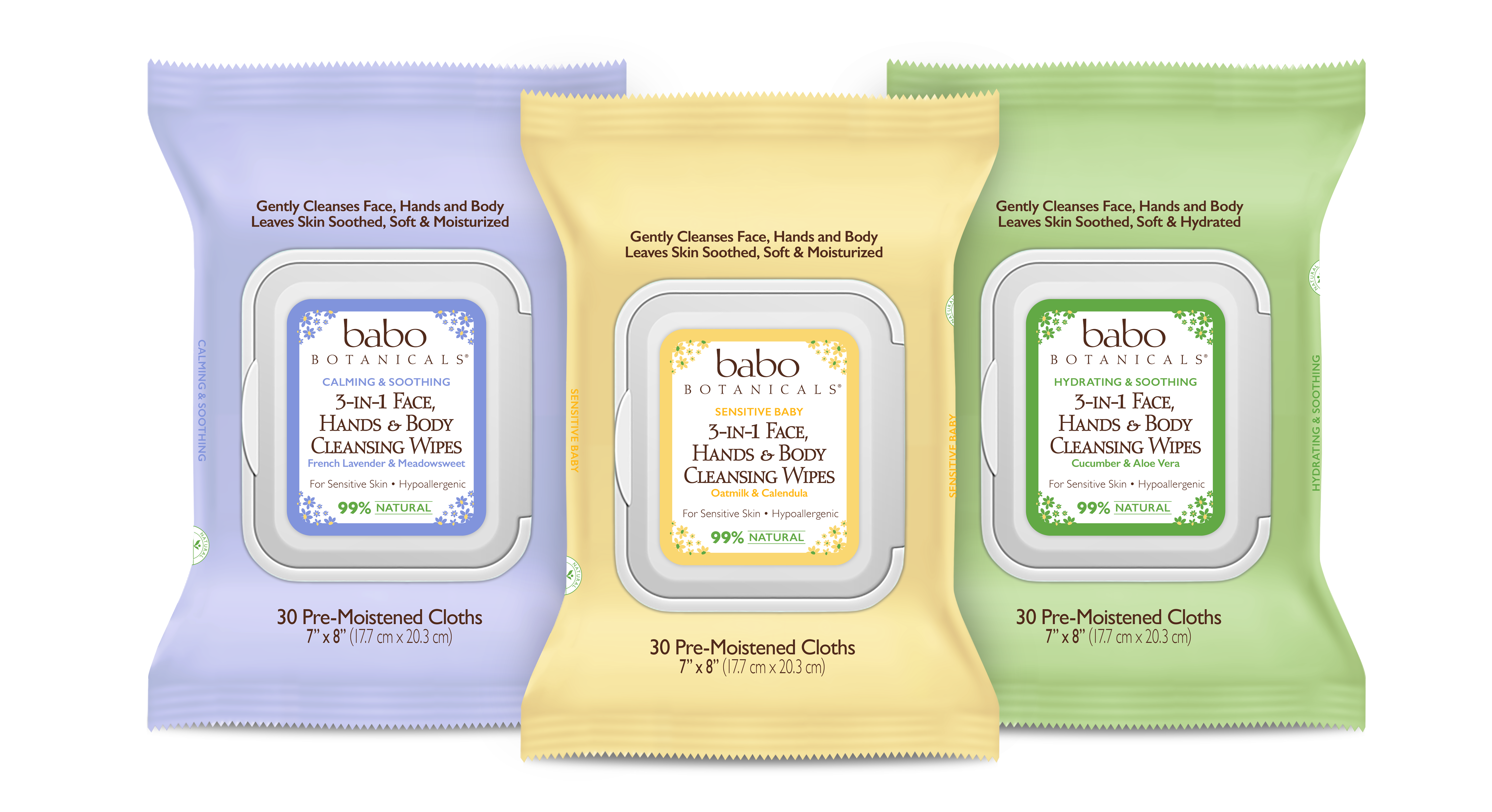 Babo Botanicals' 3-in-1 Multi-Tasking Cleansing Wipes for Face, Hands and Body