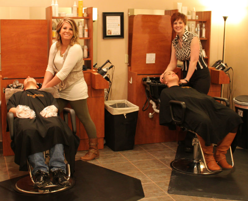 Monica Groth (right) with her first apprentice, Courtney, now that the salon is a state-licensed teaching facility.