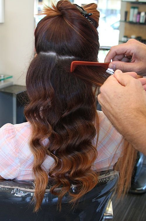 First tease the hair at the root to create more volume.