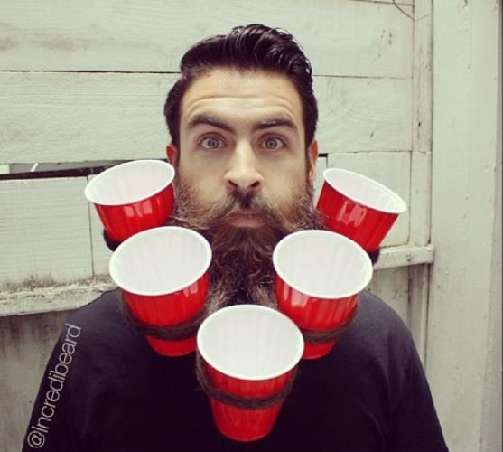 Don't have a table? No worries! Find the guy with the longest beard at the party and attach some cups.