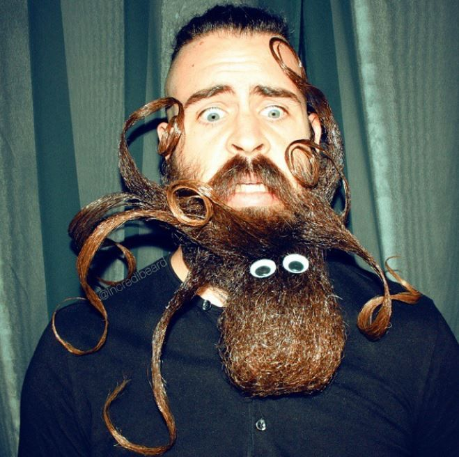 """This one is pretty cool - he's made himself a pet octopus! """"On Instagram and Facebook I've had many suggestions for me to do an octopus attacking my face, so here you go. :) I call this style Octopus Beard,"""" says Webb."""